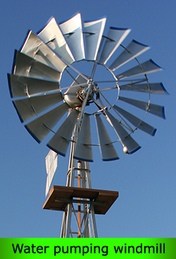 Water pumping windmill